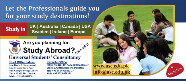 Study in UK/Australia/Canada/USA or Europe  Admissions open for intake