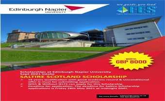 Scholarships at Edinburgh Napier University – Sept 2021 intake