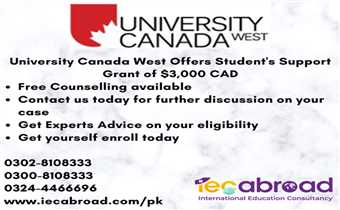 University Canada West Offers Student's Support Grant of $3,000 CAD