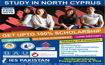 Study in North Cyprus with upto 100% scholarship top ranking universities / Feb 2018 Intake