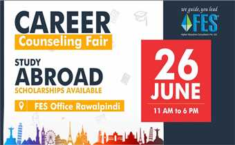 After the success of the 11th Education Fair, FES proudly presents the Free Career Counseling Fair on 26th June at FES Office Rawalpindi.