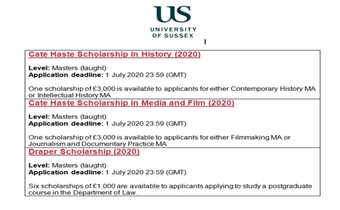 Sussex University Scholarships