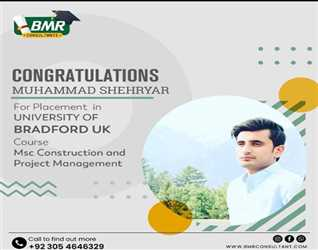 Congratulations Muhammad shehryar for Placement in Bradford university UK  #studyabroad #studyinuk #WithoutIELTS #scholarship