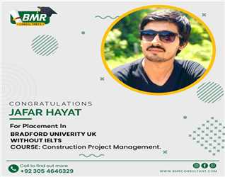 Congratulations to our student for getting placement in University of Bradford UK with scholarship.