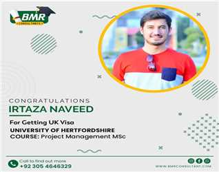 Congratulations to our student for getting visa in University of Hertfordshire UK with scholarship.