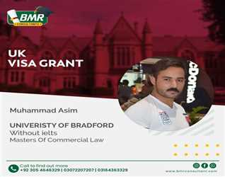 Congratulations to our student for getting visa in University of Bradford  UK with scholarship.