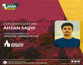 Congratulation Ahsan Sajjid for successfully got admissions and secured partial scholarships in Adelphi University USA.