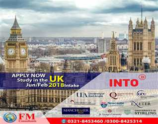"""""""Apply Now"""" Study in UK. Official Representative in Pakistan FM Consultants. Mob : 03218453460"""