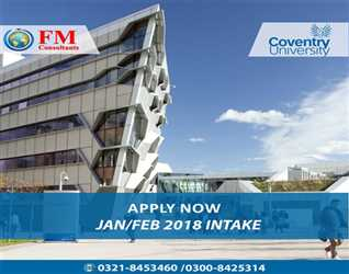 """""""Apply Now"""" Study in Coventry University. Official Representative in Pakistan FM Consultants. Mob : 03218453460"""