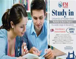 """Apply Now"""" Study in Huddersfield University. Official Representative in Pakistan FM Consultants. Mob : 0321845346"""