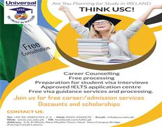 Study in Ireland & Get Work Permit after Completion of Degree for details Contact: 0423 5841701-2