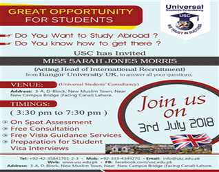 Join us on 3rd July 2018 to meet with Miss Sarah Jones Official Representative of Bangor University UK