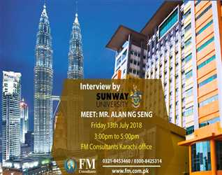 Interviews By Sunway University Malaysia  Meet Mr. Alan from Sunway University for On the Spot admission and Decision.Fm Consultants