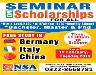 Seminar On Scholarship For All  *Min: A-Level / HSSC *With/without IELTS *Monthly Stipend Free Study in Germany , Italy , China