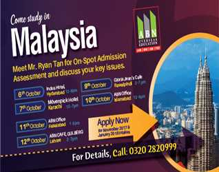 ABN OVERSEAS EDUCATION-  Come Study in Malaysia 12th October, 2017 @ ABN CAFE Gulberg- Lahore
