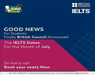 Good news for students. British council announced the IELTS dates for the month of July. Hurry up book your test now for getting admission in abroad.