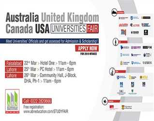 ABN:- Universities Fair in Faisalabad & Lahore (PC Hotel & DHA Ph-one