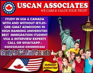 100% ADMISSION GUARANTEED, STUDY IN USA & CANADA WITH & WITHOUT IELTS