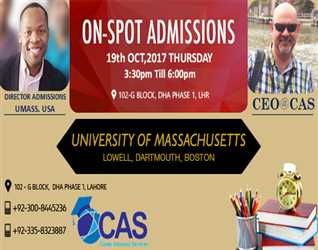 ON SPOT ADMISSION-             @ CAS  19 OCTOBER, 2017  G- Block- DHA- Lahore (3:30 pm To 6:00 Pm)