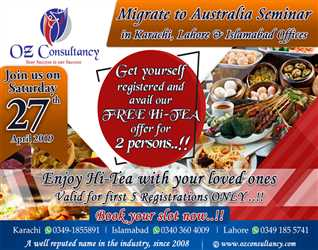 Register your Migration case with OZ CONSULTANCY and avail our FREE Hi-Tea offer for  Persons..!!
