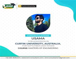 Congratulations to our student for getting placement  in curtin University Australia with scholarship.