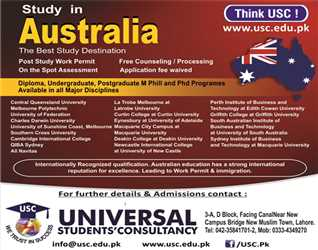 Study in Australia Post study work permits are allowed. Call for details: 0423 5841701 & 2