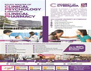 Study in Malaysia- Masters in Clinical Psychology & Masters in Clinical Pharmacy