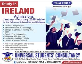 Study in Ireland for Jan-Feb 2018 Intake