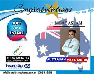 CONGRATULATIONS to MR. Moaz Aslam - STUDENT VISA GRANTED FOR AUSTRALIA - FEDERATION UNIVERSITY AUSTRALIA - SUB CLASS 500