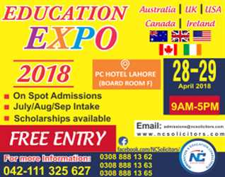 Education Expo-2018, PC Hotel- Lahore, Free Entry 28 & 29 April, 2018, 9am To 5pm