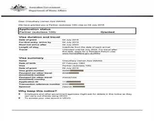 CONGRATULATIONS TO MR. USMAN AZIZ ON PARTNER VISA GRANTED FOR AUSTRALIA-0308-8881212, 0321-1010466