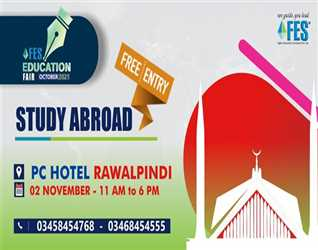 Get ready as we are coming to your city on nd November  at PC Hotel Rawalpindi with the event of the year FES Education Fair October .