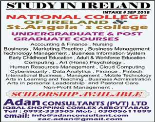 STUDY IN IRELAND: Intake# Sept.2018, National College of Ireland. Scholarships Available
