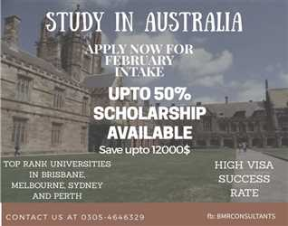 Study in Australia through BMR consultants and get 7000 $ scholarship with 30 % off on Consultancy fee for Feb intake