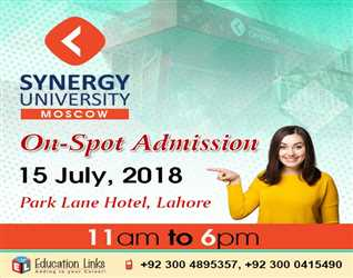 Synergy University, Moscow- On Spot Admission 15 July, 2015- Park Lane Hotel- Lahore  11am To 6pm