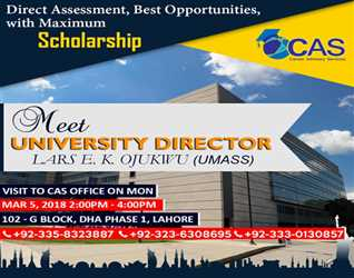 Meet University Director- Direct Assessment with Maximum Scholarship (5 March-2018) 2:00 pm To 4:00 Pm DHA- Lahore