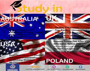 Study In UK, USA, Canada, Australia,Poland. without any problems and make a secure future.