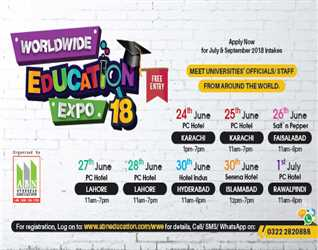 ABN Overseas Edcuation: Worldwide Education Expo @ Serena Hotel Islamabad 30 June-2018 12pm to 7pm