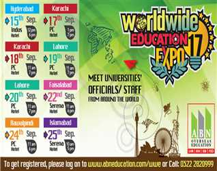 ABN- Worldwide Education Expo-  19 & 20 September,2017 PC Hotel- Lahore