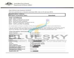 Mr. Muhammad Zeeshan Ashraf on Student visa (Sub class ) grant of Australia......!!!