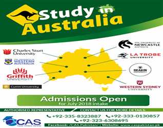CLOSING DAYS FOR APPLICATION 31-MAY-2018 Deadline to apply in AUSTRALIA (JULY 2018 INTAKE) Maximum Scholarship 0335-8323887,0333-0130857 03236308695