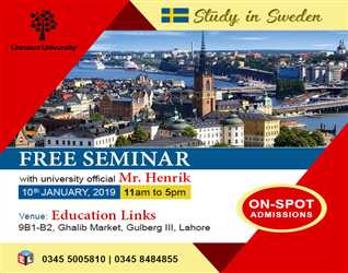 Free Seminar- Lahore. On Spot Admission- Study in Sweden