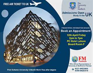 Free Air Ticket to UK by FM Consultants, Book An Appointment @ PC Hotel- Lahore